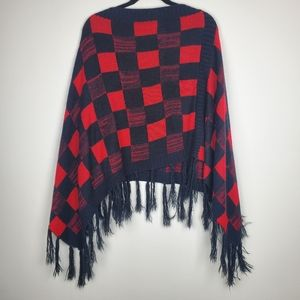 Red Buffalo Plaid Fringed Edge Poncho